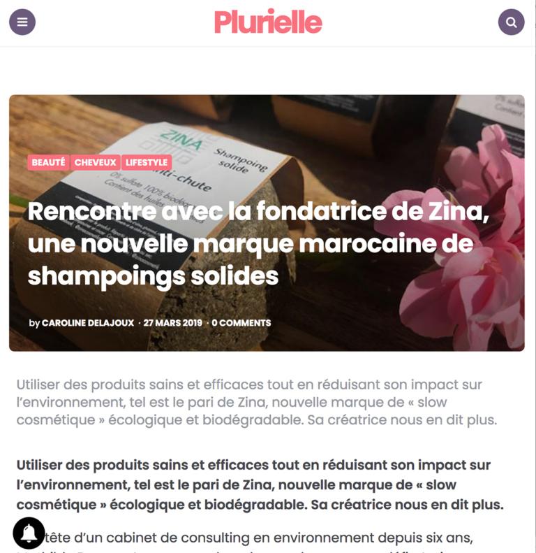 Zina Cosmetik - Presse - Interviews - Plurielle