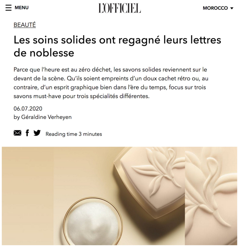 Zina Cosmetik - Presse - Shampoings solides - L'officiel